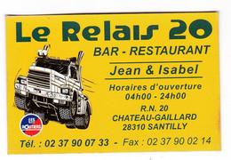 """Carte Bar Restaurant - """"Le Relais 20"""" Jean&Isabel Château Gaillard Santilly Eure Et Loir - Carte De Fidélité - Publicités"""