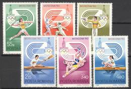 Rumänien 3733/38 ** Postfrisch Olympia Moskau 1980 - Unused Stamps