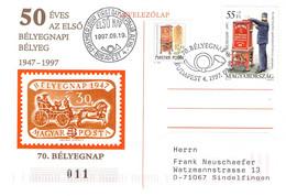 HUNGARY - COMMEMORATIVE POSTCARD 70. BÉLYEGNAP 1947/97 /QE 3 - Cartas