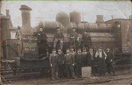 ! Fotokarte, Photo, Dampflok, Eisenbahn Charleroi, Belgien, 1. Weltkrieg, Stempel Harburg 1916 - Charleroi