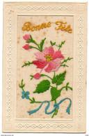 CARTE BRODEE Sur Tulle , Fleurs , BONNE FETE - Embroidered