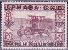 Jugoslawien 1918 (Ausgabe Für Bosnien-Herzegowina). Postauto, 50 Heller Violettbraun, Mi 9 Ungebraucht - Camiones