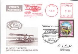 ÖSTERREICH - SONDERPOSTKARTE 1998 80 JAHRE FLUGLINIE WIEN-KRAKAU-LEMBERG-KIEW  /QE 13 - Aéreo