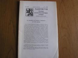 NAMVRCVM Namurcum N° 1 1968 Régionalisme Namur Le Cimetière Du Corbois à Rochefort Histoire Laboratoire Poudre Poudrière - Bélgica