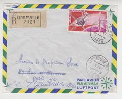 JJ 012 /   1967/ RECOMMANDE 7121 / Par Avion /  De  LIBREVILLE à PARIS  Timbre  POSTE AERIENNE - Gabon