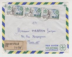 JJ 013 /   1967/ RECOMMANDE 2688 / Par Avion /  De  LIBREVILLE à PARIS  Timbre  PAPE  Paul VI Encyclique - Gabon