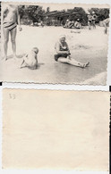 1960s Original 11x8 Old Photo Vintage Woman Half Naked Pin Up NU Swimsuit Pants Beach Child Russia USSR (4011) - Pin-up