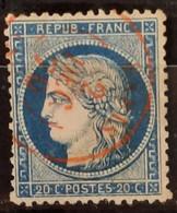 France 1870  N°37 Ob Cachet à Date Rouge, 2 Dents Courtes Signé Calves B - 1870 Siege Of Paris