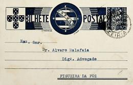 1936 Inteiro Postal Tipo «Tudo Pela Nação» De 25 C. Azul Enviado De Leiria Para A Figueira Da Foz - Ganzsachen