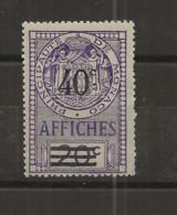 TIMBRES FISCAUX DE MONACO AFFICHES  N°14 40 C Sur 20 C VIOLET NEUF (**) Cote 60€ - Fiscaux