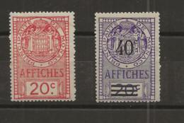TIMBRES FISCAUX DE MONACO AFFICHES  N°12 20 C ROUGE N°14 40 C Sur 20 C VIOLET NEUF (**) Cote 95€ - Revenue