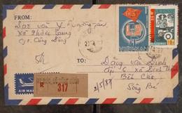 Vietnam Viet Nam Registered Local Cover 1987 With Ben Cat Postmark On The Back - Vietnam