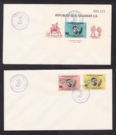 El Salvador: 2x FDC First Day Cover 1969, Souvenir Sheet, 2 Stamps, John Kennedy, Overprint Apollo Space (traces Of Use) - El Salvador