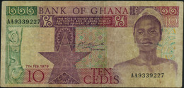 ♛ GHANA - 10 Cedis 07.02.1979 VG P.20 A - Ghana