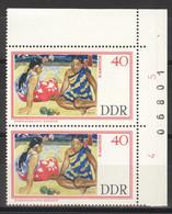DDR 2x1267 Eckrand Mit Bogennnummer ** Postfrisch - Unused Stamps