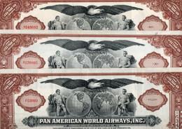 U.S.A. - PAN AMERICAN WORLD AIRWAYS INC. LOTTO 3 TITOLI BANCARI -CAPITAL STOCK -NEW YORK - SAN FRANCISCO - Aviazione