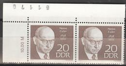 DDR 2x1388 Eckrand Mit Bogennummer ** Postfrisch - Unused Stamps