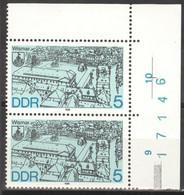 DDR 2x3161 Eckrand Mit Bogennummer ** Postfrisch - Unused Stamps