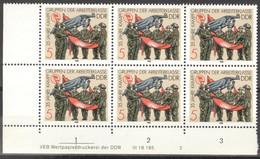 DDR 6x3177 Eckrand Mit Druckvermerk ** Postfrisch - Unused Stamps