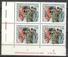DDR 4x3178 Eckrand Mit Druckvermerk ** Postfrisch - Unused Stamps
