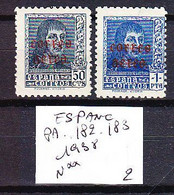 TIMBRE . . . . . . . ESPAGNEESPANA PA POSTE AERIENNE N° 182. 183 - 1931-50 Unused Stamps