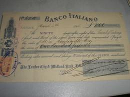 CAMBIALE 1914 BANCO ITALIANO IQUIQUE CILE - Other