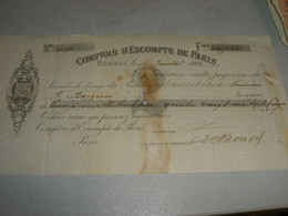 CAMBIALE COMPTOIR DESCOMPTE DE PARIS 1883 - 1800 – 1899