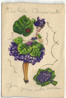 Carte Ajoutis Decoupis Violette Amour Caché  Qu'on Ignore Notre Amour Coccinelle RV - Andere