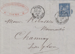 LAC Affr Y&T 90 Obl TOURS Du 19 NOV 80 Adressée à Channay - 1877-1920: Semi Modern Period