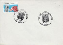 1 ERE LIAISON VIDEOTRANSMISSION à THIERS PUY DE DOME 1977 - Commemorative Postmarks
