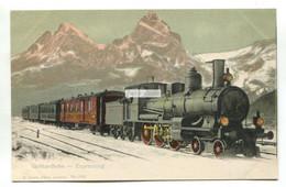 Gotthardbahn - Expresszug, Steam Train, Railway - Old Switzerland Postcard - Treni