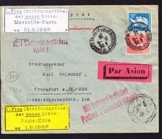 1926 Erstflugsbrief. Paris - Frankfurt. Label Marseille - Paris 31.05.1926 Und Paris - Köln 01.06.1926 - First Flight Covers