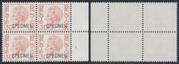 école Postale - Elström N°1649** Neuf Sans Charnières En Bloc De 4 Surcharge SPECIMEN + BDF Et N° De Planche (1) - 1970-1980 Elström