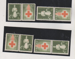 CROATIA WW II , 1942,1 Kn Red Cross  Charity Stamp + Label MNH 4 Position - Croatia