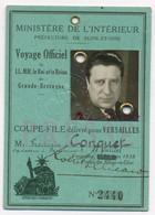 E723 Carte Versailles Voyage Officiel Reine Angleterre Laisser Passer Presse 1938 Photo Fredéric Conquet Paramount - Historical Documents