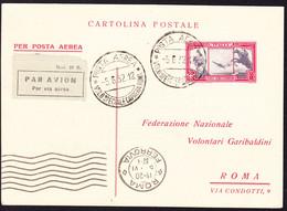 1932 Postkarte Per Flugpost, Volo Speciale Caprera - Roma. Volontari Garibaldini. Mit Sondermarke - Luftpost