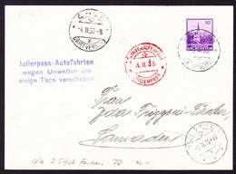 1935 PK Aus Schaan Nach Samaden. Julierpass Autofahrten Wegen Unwetter Verschoben. Stempel Chur Und St. Moritz - Air Post