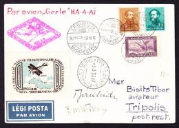 1933 Postkarte Mit Flugpost Vignette (Gerle HA-A-AI) Aus Budapest Nach Tripoli Mit Unterschrift. - Briefe U. Dokumente
