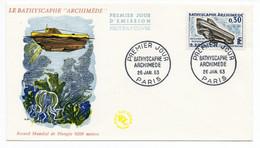 FDC France 1963 - Le Bathyscaphe Archimède - YT 1368  - 75 Paris - 1960-1969