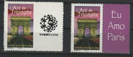 """N° 3599A + 3599B COTE 46 € """"Arc De Triomphe"""" Avec Vignette """"Yvert"""" Et """"Eu Amo Paris"""" Neuf ** (MNH) Qualité TB - Sellos Personalizados"""