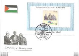 """37 - 49 - Enveloppe Avec Bloc """"The Gaza Jericho Peace Agreemet"""" Oblit Spéciale 1994 - Palestine"""