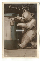 Bear Posting A Letter - Old Greetings Postcard, Artwork By Perly - Orsi