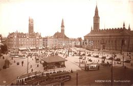 Copenhagen - Kobenhavn - Raadhuspladsen - Tram - 12 - Old Postcard - 1919 - Denmark - Used - Denmark