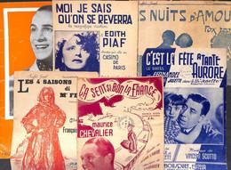 Lot + 40 Partitions : Piaf - Tino Rossi Mistinguett Fernandel....chant Wallon... à Découvrir, Petit Prix - Spartiti