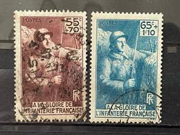 FRANCE YT 386.387. Oblitérés. 1938. Côte 10.70 € - Gebruikt