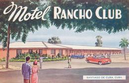 Santiago De Cuba Motel Rancho Club  American Cars Art Card - Cuba