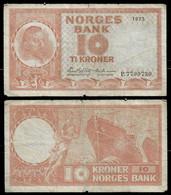 NORWAY BANKNOTE - 10 KRONER 1973 P#37f F (NT#03) - Norway