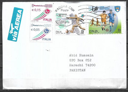 USED AIR MAIL COVER ITALY TO PAKISTAN FOOTBALL , SPORTS - Other