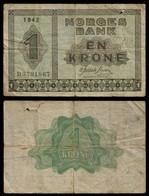 NORWAY BANKNOTE - 1 KRONER 1942 P#15a VG/F (NT#03) - Norway