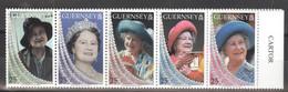Guernsey 792/801 Zehnerstreifen ** Postfrisch 1x In Der Perf. Gefaltet - Guernsey